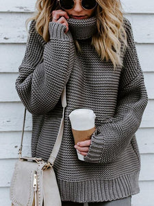 Turtleneck Oversized Long Sleeve Knitted Pullover Sweater-BelleChloe-o1o.store