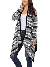Load image into Gallery viewer, 【Quality】Irregular Geometric Printed Knitted Long Sleeves Cascading Draped Front Open Cardigan-BelleChloe-o1o.store