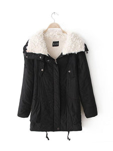 [Quality] Medium Long Thick Lamb Fur Collar Cotton coat-BelleChloe-o1o.store