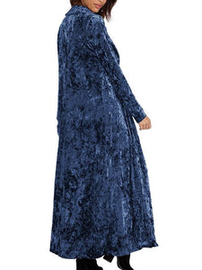 Casual Solid Color Maxi Long Sleeve Velvet Cardigan-BelleChloe-o1o.store