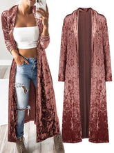 Load image into Gallery viewer, Casual Solid Color Maxi Long Sleeve Velvet Cardigan-BelleChloe-o1o.store