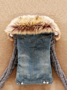Fashion Lamb Fur Collar Slim Short Jean Coat-BelleChloe-o1o.store