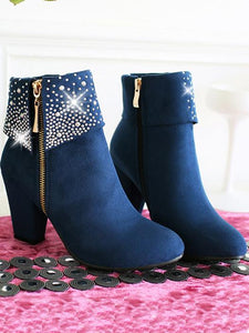 Crystal Decor Zipped Women'S Ankle Boots-BelleChloe-o1o.store