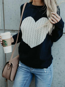Round Neck Heart Print Knitted Sweater-BelleChloe-o1o.store