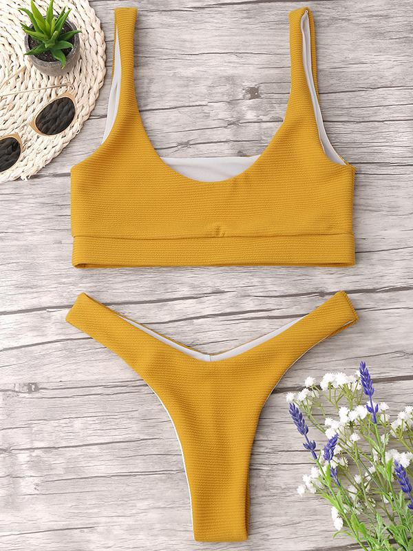 Solid Color Sexy Split Thicken Swimsuit-BelleChloe-o1o.store