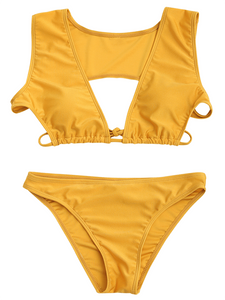 Solid Color Sexy Split Swimsuit-BelleChloe-o1o.store