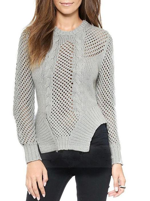 Casual Hollow Weave Pattern Rib Bottom Neckline Knitted Sweater-BelleChloe-o1o.store
