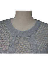 Load image into Gallery viewer, Casual Hollow Weave Pattern Rib Bottom Neckline Knitted Sweater-BelleChloe-o1o.store