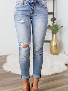 High Waist Two-Tone Classic Jeans-BelleChloe-o1o.store