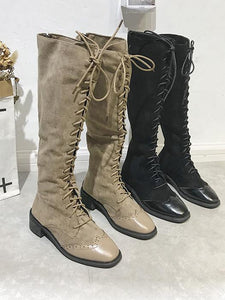 Cool Lace-Up Stiched Long Martin Boots-BelleChloe-o1o.store