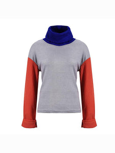 Fashion Stitching Color High Collar Loose Sleeves Casual Knit Sweater-BelleChloe-o1o.store