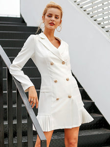 Elegant Ruffle Double Breasted Office Casual Blazer Dresses-BelleChloe-o1o.store