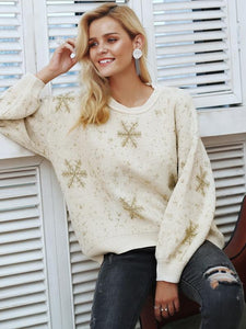 O-neck Snowflake Pullover Casual Sweaters-BelleChloe-o1o.store