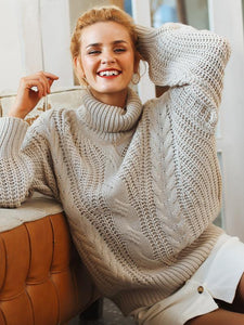 Long Sleeve Pullover Turtleneck Loose Casual Sweaters-BelleChloe-o1o.store