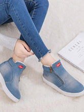 Load image into Gallery viewer, [Quality] Women Denim Ankle Boots Classic Zipper Snow Boots Warm Plush Thickening Flat-BelleChloe-o1o.store