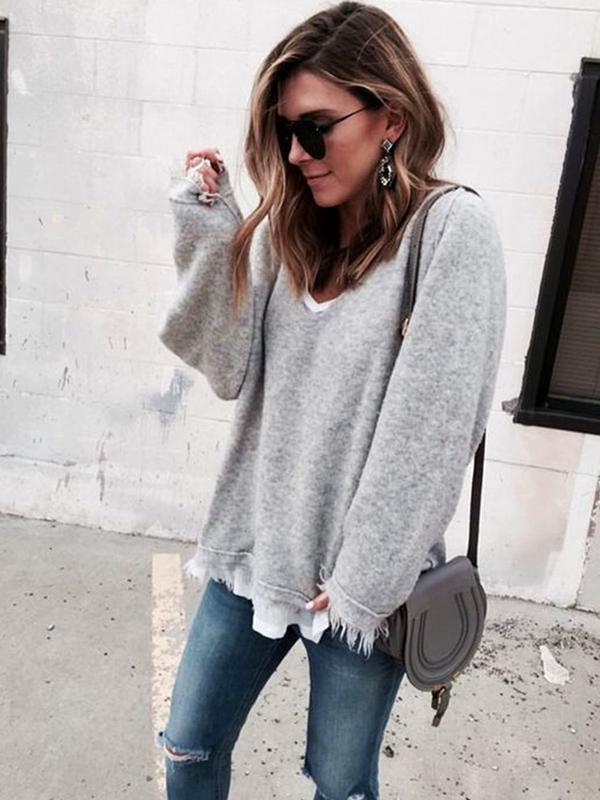Autumn And Winter V-Collar Tassels Angora Loose Sweater-BelleChloe-o1o.store
