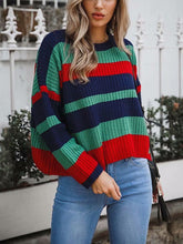 Load image into Gallery viewer, Casual Striped Knitted Cropped Pullover Sweatshirt-o1o.store-o1o.store