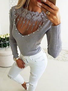 Sexy Tight Lace Leaky Knit Sweater-BelleChloe-o1o.store