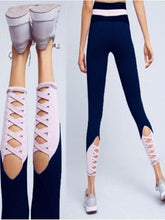 Load image into Gallery viewer, High Waist Stitching Hollowed Skinny Yoga Pants-BelleChloe-o1o.store