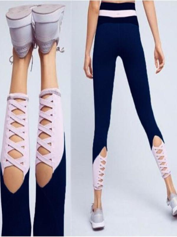 High Waist Stitching Hollowed Skinny Yoga Pants-BelleChloe-o1o.store