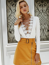 Load image into Gallery viewer, Sexy V-neck Lace Up Hollow Long Sleeve Jumpsuit-BelleChloe-o1o.store