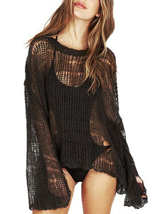 Knitted Solid Color Sexy Hollow Loose Casual Lightweight Sweater-BelleChloe-o1o.store