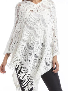 Knitted Lace Shawl Asymmetric Tassel Cape Jumper Sweater-BelleChloe-o1o.store