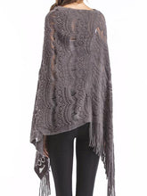 Load image into Gallery viewer, Knitted Lace Shawl Asymmetric Tassel Cape Jumper Sweater-BelleChloe-o1o.store