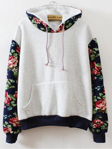Pure Flower Long Sleeve Hooded Sweatshirt-BelleChloe-o1o.store