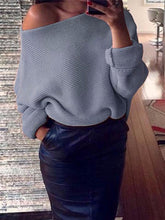 Load image into Gallery viewer, Solid Color Off Shoulder Loose Knitted Thick Basic Sweater-BelleChloe-o1o.store
