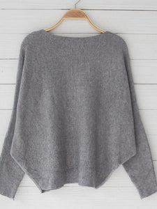 Solid Color Off Shoulder Loose Knitted Thick Basic Sweater-BelleChloe-o1o.store