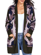 Load image into Gallery viewer, Camouflage Long Sleeves Pockets Cardigan Sweater-BelleChloe-o1o.store