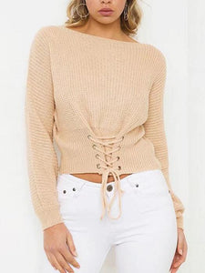 Lace Up Ribbed Knitted Long Sleeve Round Neck Casual Pullover Sweater-BelleChloe-o1o.store