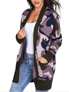 Camouflage Long Sleeves Pockets Cardigan Sweater-BelleChloe-o1o.store