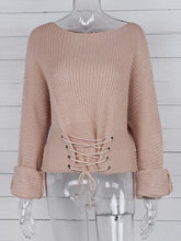 Load image into Gallery viewer, Lace Up Ribbed Knitted Long Sleeve Round Neck Casual Pullover Sweater-BelleChloe-o1o.store