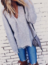 Load image into Gallery viewer, Autumn And Winter V-Collar Tassels Angora Loose Sweater-BelleChloe-o1o.store