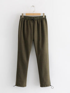 【Quality】Elastic Waist Wild Solid Color Nine Pants-BelleChloe-o1o.store