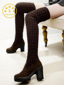 [Quality] High Heel Martin Long Thick Boots-BelleChloe-o1o.store