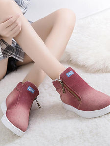 [Quality] Women Denim Ankle Boots Classic Zipper Snow Boots Warm Plush Thickening Flat-BelleChloe-o1o.store