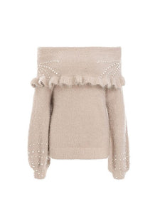 Strapless Shoulder Knitted Lantern Sleeve Pullover Sweaters-BelleChloe-o1o.store