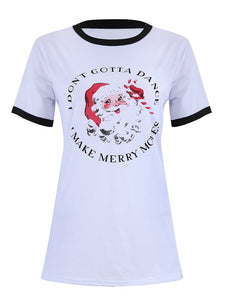 Fashion Santa Claus Print Stitching Color Casual Loose T-shirt-BelleChloe-o1o.store