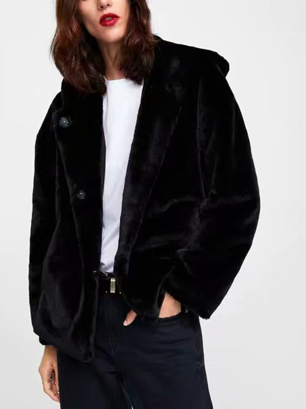 【Quality】Women's Daily Solid Colored Hooded Long Sleeve Faux Fur Coat-BelleChloe-o1o.store