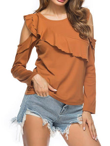 Cold Shoulder Ruffled T-Shirt-BelleChloe-o1o.store