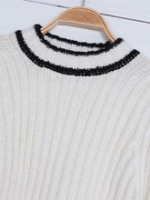 Load image into Gallery viewer, Turtleneck Knitted Contrast Trim Flare Sleeve Loose Casual Sweater-BelleChloe-o1o.store
