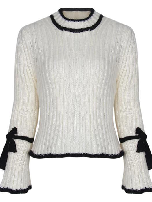 Turtleneck Knitted Contrast Trim Flare Sleeve Loose Casual Sweater-BelleChloe-o1o.store
