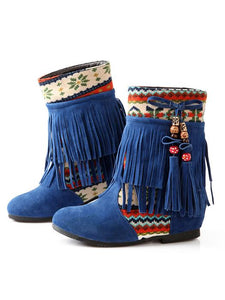 Ethnic Stiching Tassel Decor Hidden-Heel Boots-BelleChloe-o1o.store