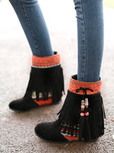 Load image into Gallery viewer, Ethnic Stiching Tassel Decor Hidden-Heel Boots-BelleChloe-o1o.store