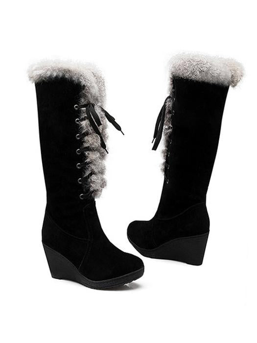 Fashionable Frenal Fur Decor Wedged Heel Boots-BelleChloe-o1o.store