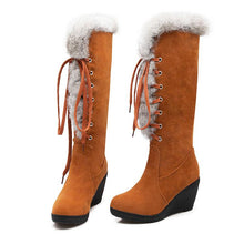 Load image into Gallery viewer, Fashionable Frenal Fur Decor Wedged Heel Boots-BelleChloe-o1o.store