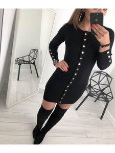 Sexy Slim Solid color Button Knit Dress-BelleChloe-o1o.store